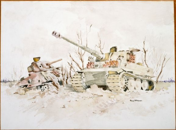 Peter McIntyre (1910-1995) - Knocked-Out Tanks, 1940-43
