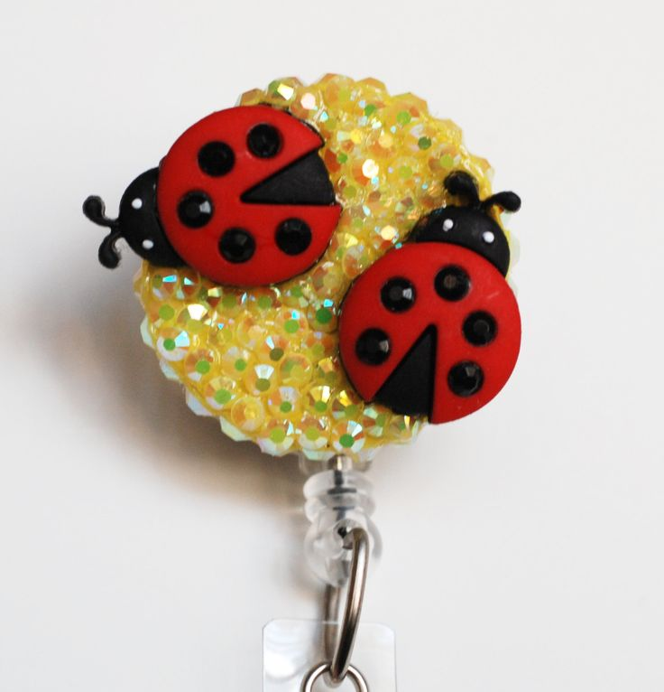 Two Sweet Lady Bugs ID Badge Reel - Retractable ID Badge Holder - Zipperedheart by ZipperedHeart on Etsy