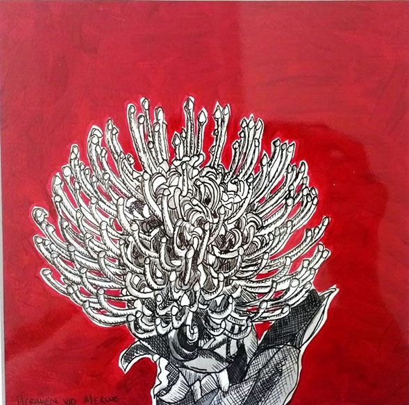 Hermien Van Der Merwe;  Title: Fynbos:  Table Mountain Fynbos 18 Medium: Pen-and-Ink drawing on paper with oil paint background Size: 200 x 200mm