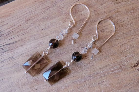 Sterling silver earrings made with Smoky by CreativeWorkStudios