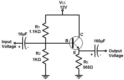 #EmitterFollower Circuit is one of three basic single-stage bipolar junction transistor amplifier topologies, typically used as a voltage buffer.