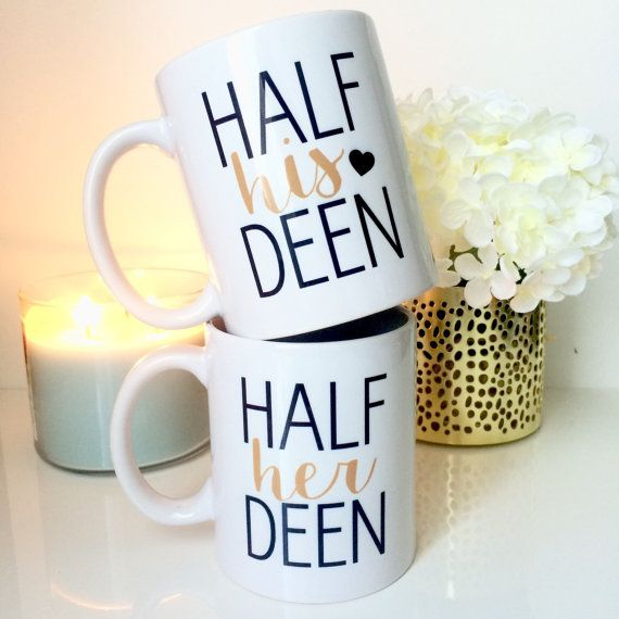Half his deen Half her deen -Islamic mugs - islamic wedding Gift idea - Duo…