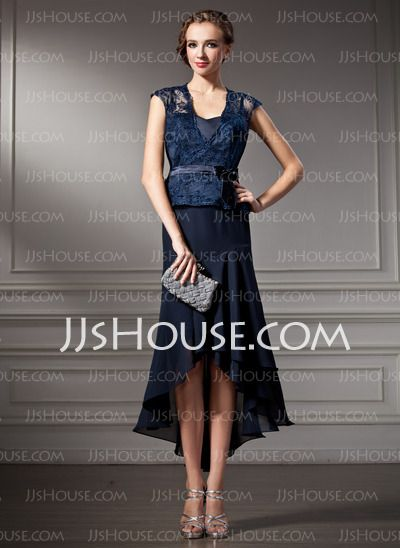 A-Line/Princess Sweetheart Asymmetrical Chiffon Charmeuse Lace Mother of the Bride Dress (008005924)