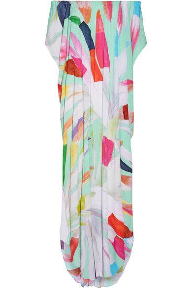Mara Hoffman - Dashiki Off-the-shoulder Printed Textured-crepe Maxi Dress - Mint - XS/S