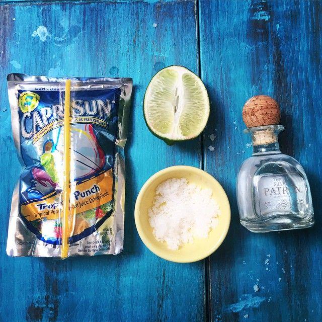 Adventures in @buzzfeedfood cocktails: Capri Sun + Tequila = CapriLa.