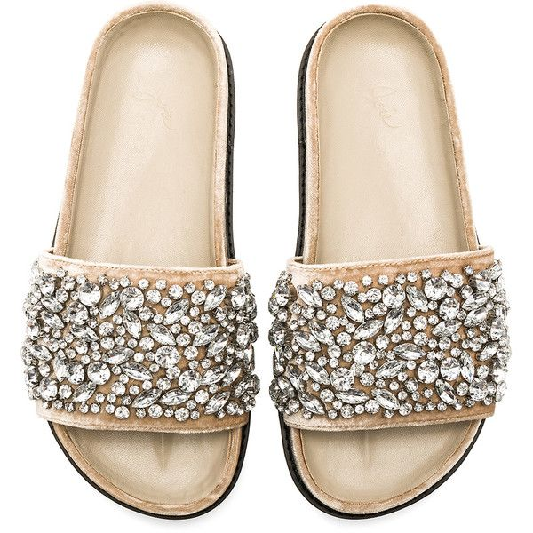 Joie Jacory Embellished Slide ($245) ❤ liked on Polyvore featuring shoes, sandals, slip on shoes, embellished shoes, synthetic shoes, velvet shoes and decorating shoes
