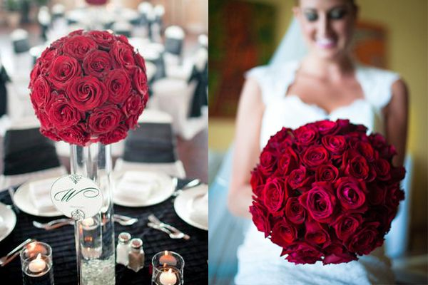 This bouquet is gorgeous.  And the table arrangements are the same.  Lovely idea