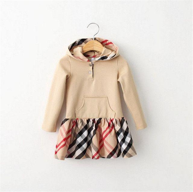Girls Dresses Long Sleeve Plaid Kids Dresses For Girls Cotton Brand Children Clothing Hooded Fashion Cute Toddler Girl Clothing