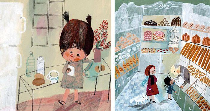 El trabajo de desarrollo de 'Le Merveilleux Dodu-Velu-Petit' (El Maravilloso Fluffy pequeño blando) por Beatrice Alemagna