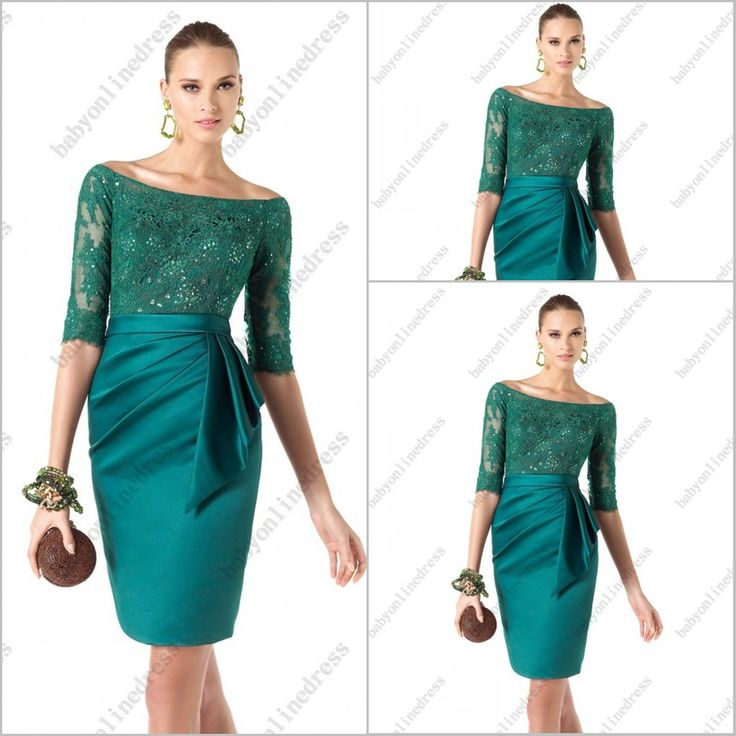 2014 MOTHER OF THE BRIDE DRESSES | satin Short cocktail dresses with lace sleeves Mother of bride dresses ...
