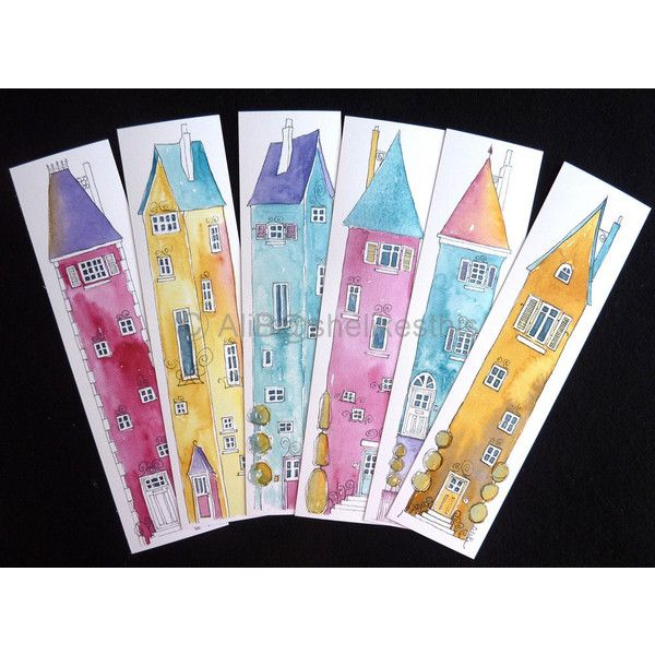 Book marks 6 colourful Illustrations of tall houses, colourful prints... ($7.64) ❤ liked on Polyvore featuring shelikesthis