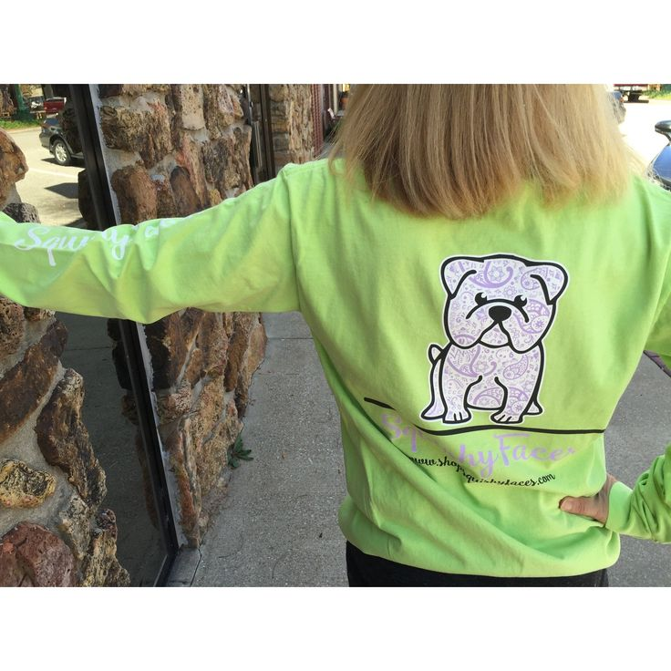 Long-Sleeve Lime Green Shirt With A Lavender English Bulldog