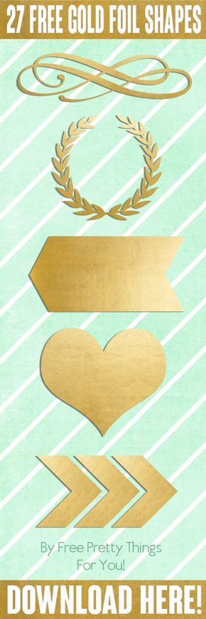 Gold Foil: 27 Free Pretty ScrapBooking Shapes - Free Pretty Things For You