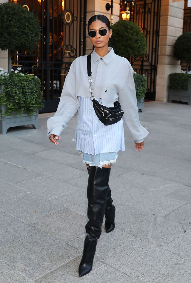 6bcdf107475b On Chanel Iman: Ambush top (unavailable); Alexander Wang Attica Fanny Pack  ($495); Kurt Geiger Vita Over The Knee Boots ($370) Similar Styles: M.i.h.  Jeans ...