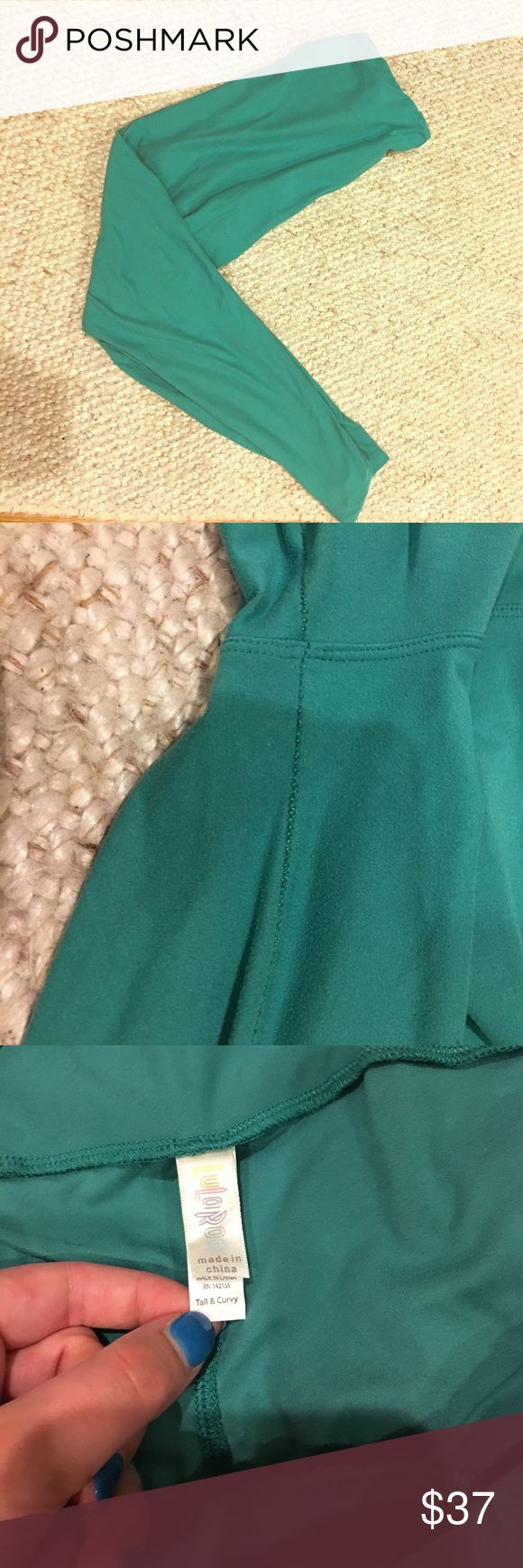 LuLaRoe jade green Tall & Curvy TC Leggings 🍀 Super soft LuLaRoe leggings in gently used condition. The seams are stretched a little (see pic) but overall great condition! In the last photo, this color is on the right. LuLaRoe Pants Leggings