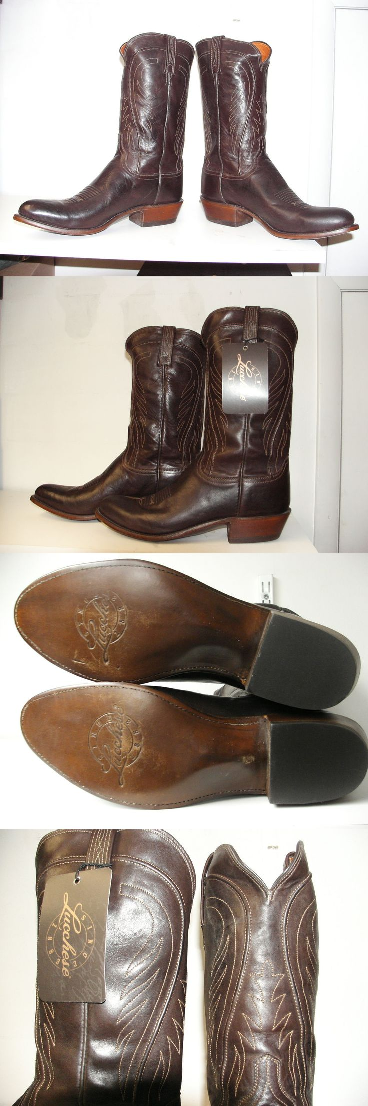 Western Boots 159002: New Lucchese Usa Men S Brown Leather Boot N8468.R4 Reg $570. Size 12 D -> BUY IT NOW ONLY: $199.95 on eBay!