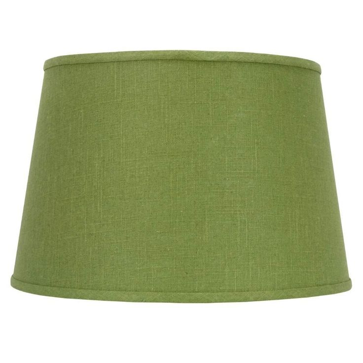 Upgradelights Apple Green Fabric Floor or Table Drum Replacement Lamp Shade. Dimensions: 13 inches on top by 16 inches on bottom and 10.5 inch height. Top quality laminated fabrics. Brass plated washer with IES notches for floor lamp glass. Matching trim top and bottom. Apple green linen fabric.