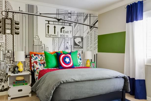 Comic book characters and a cool streetscape mural set the scene in this superhero-themed kid's bedroom.