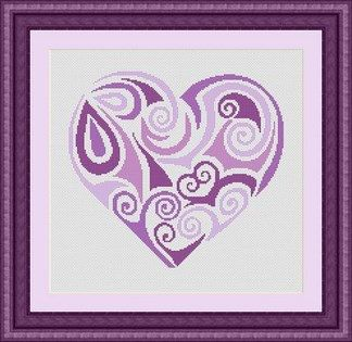 TRIBAL HEART purple / coeur- Counted cross stitch pattern /grille point de croix ,Cross Stitch PDF, Instant download , free shipping