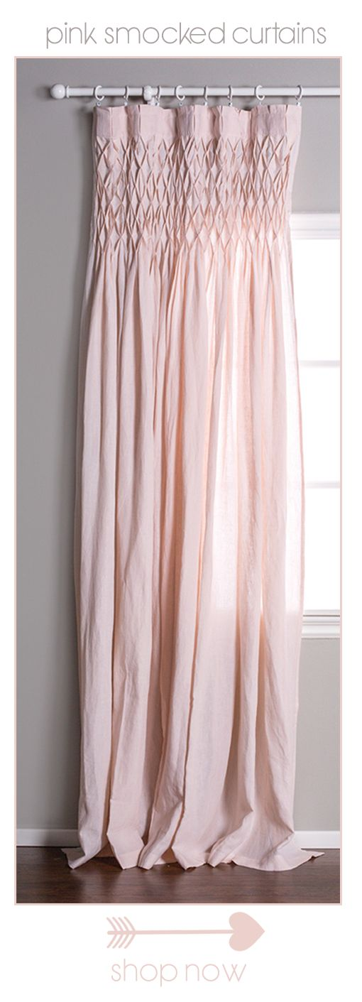 Drape your home in the loveliest of hue!  Smocked Pink Curtain www.pompomathome.com