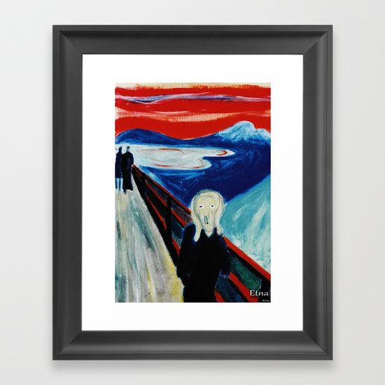 "Reproduction of an oil on canvas painting representing ""The Scream "" by E. Munch, on a Etna landscape. Framed fine art print on natural white, matte, ultra smooth, 100% cotton rag, acid and lignin free archival paper using an advanced digital dry ink method to ensure vibrant image quality."