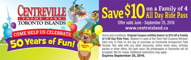 Centreville Coupon - Save $10 for family of 4 all day ride pass.