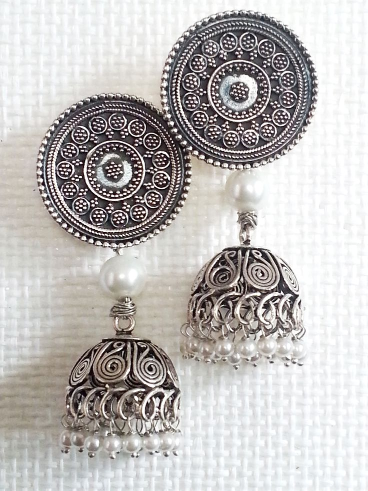 Silver Jhumkas with Pearls! Available for sale $ 149. travelingwheelsnz@gmail.com