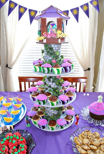 rapunzel cupcake tower