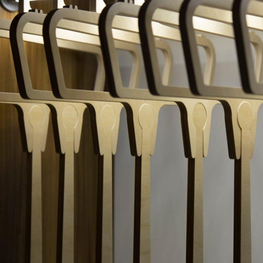 Hangers with lengthen arm - product available in Plywood and Corian materials