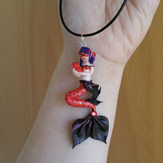 Miraculous Ladybug mermaid polymer clay charm with necklace