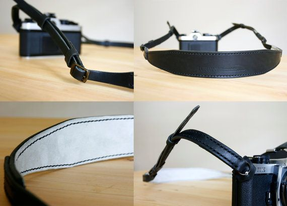 Black Premium Camera Neck Strap RING made to by LoraynLeather