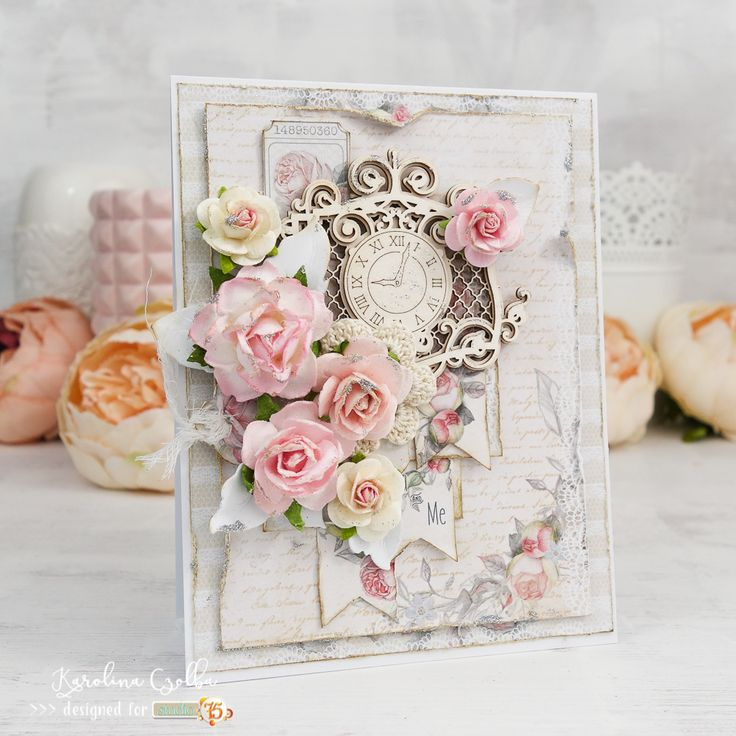 Handmade subtle, romantic card made with Studio75 The Rose Avenue, #cardmaking #scrapbooking # papercraft