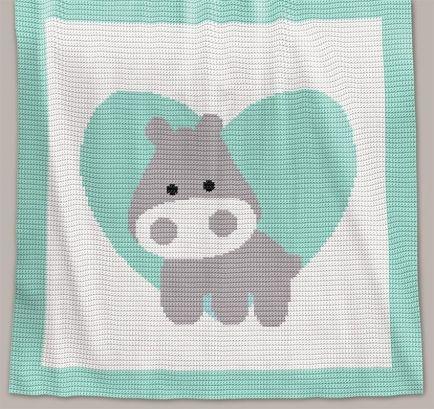 Crochet Pattern   Baby Blanket - Love Hippo (RBR)