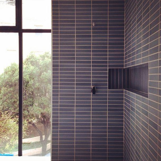 """Heath 2x9"""" with wraparound shower niche. Heath Blog Jun 16 2014"""