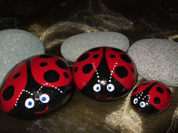 "Large painted ladybird stones ("",)"