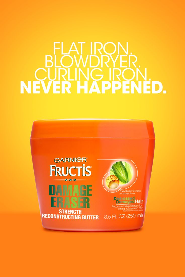 Garnier Fructis Damage Eraser Reconstructing Butter works in two ways to build healthier, stronger hair and protect from future damage with 2X the damage resistance. Click on the pin to learn how you can reverse heat damage!