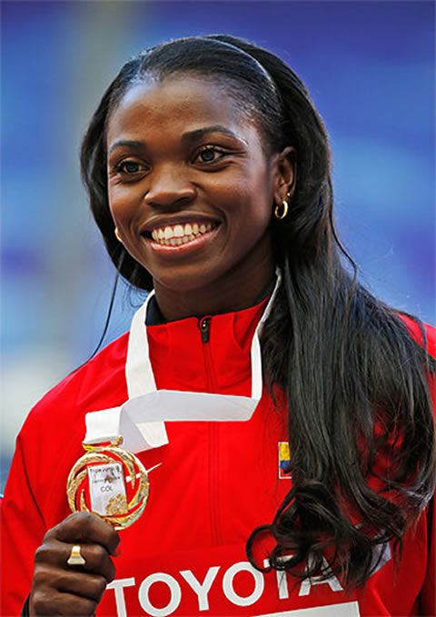 Caterine Ibargüen Mena (born 12 February 1984 in Apartadó, Antioquia) is a Colombian athlete competing in high jump, long jump and triple jump.