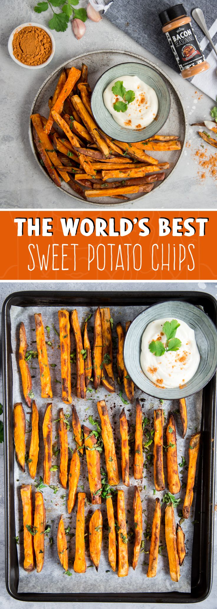 These sweet potato chips are the best in the world! Seasoned with the infamous Bacon Seasoning from Deliciou this snack will blow your taste buds away!