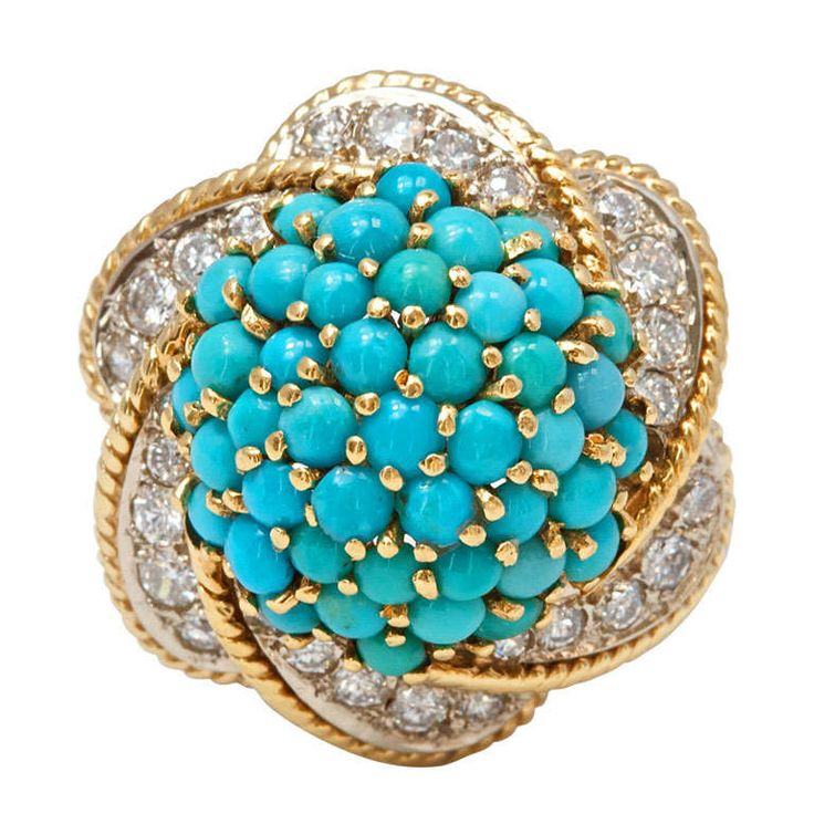 Fabulous Turquoise Diamond Gold Ring   From a unique collection of vintage fashion rings at https://www.1stdibs.com/jewelry/rings/fashion-rings/