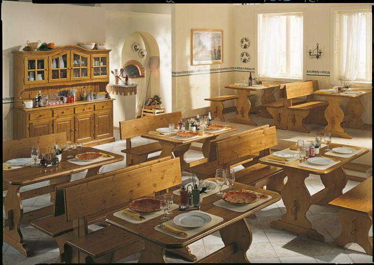 Arredamento in legno massiccio per pizzerie e ristoranti. Wooden furniture for restaurants and pizzerias.  #hardwood #restaurants #pizzeria #furniture #pinewood  www.demarmobili.it