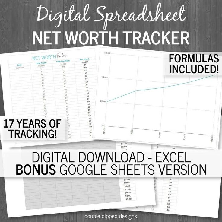 Net Worth Tracking Spreadsheet Debt Tracker Asset Tracker