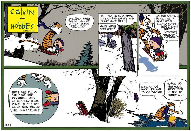 Calvin and Hobbes ~ Everybody makes the wrong kind of New Year's resolution . . .