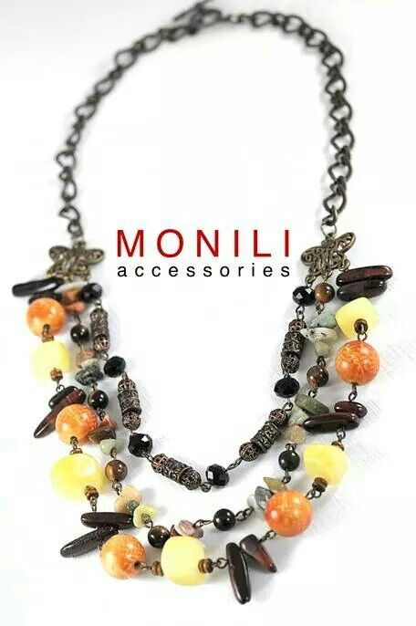 3 layers necklace: orange and bronze beads by MONILI