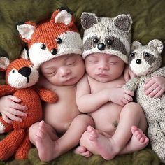 Knit baby Fox and Raccoon hats!