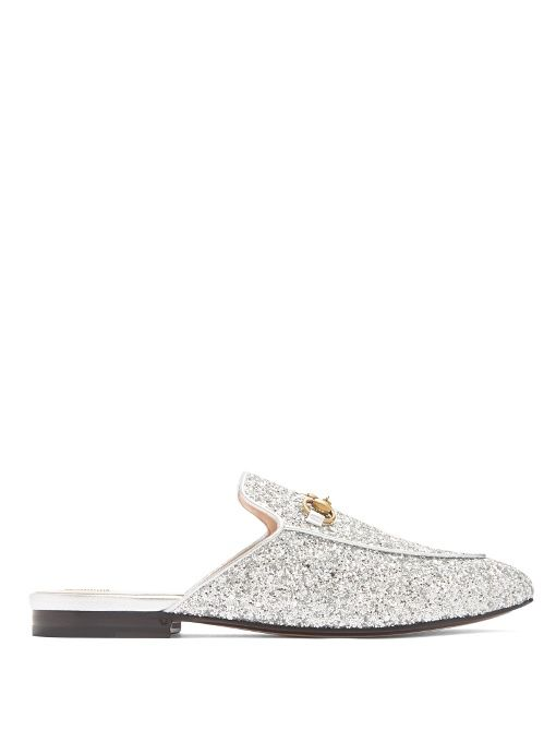 1320706f6bb GUCCI Princetown Glitter Backless Loafers.  gucci  shoes  flats ...