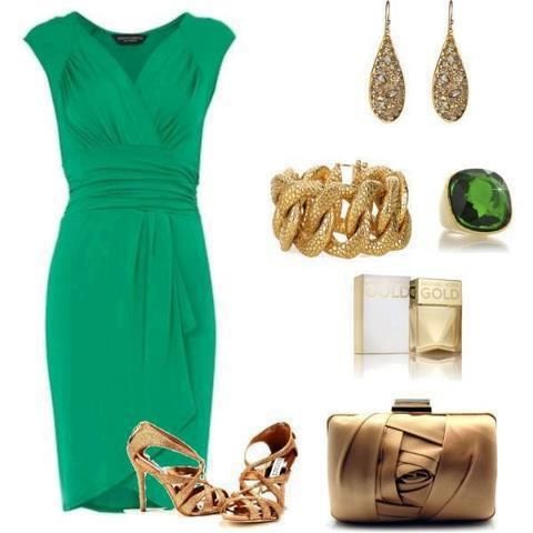 Green elegant cocktail dress