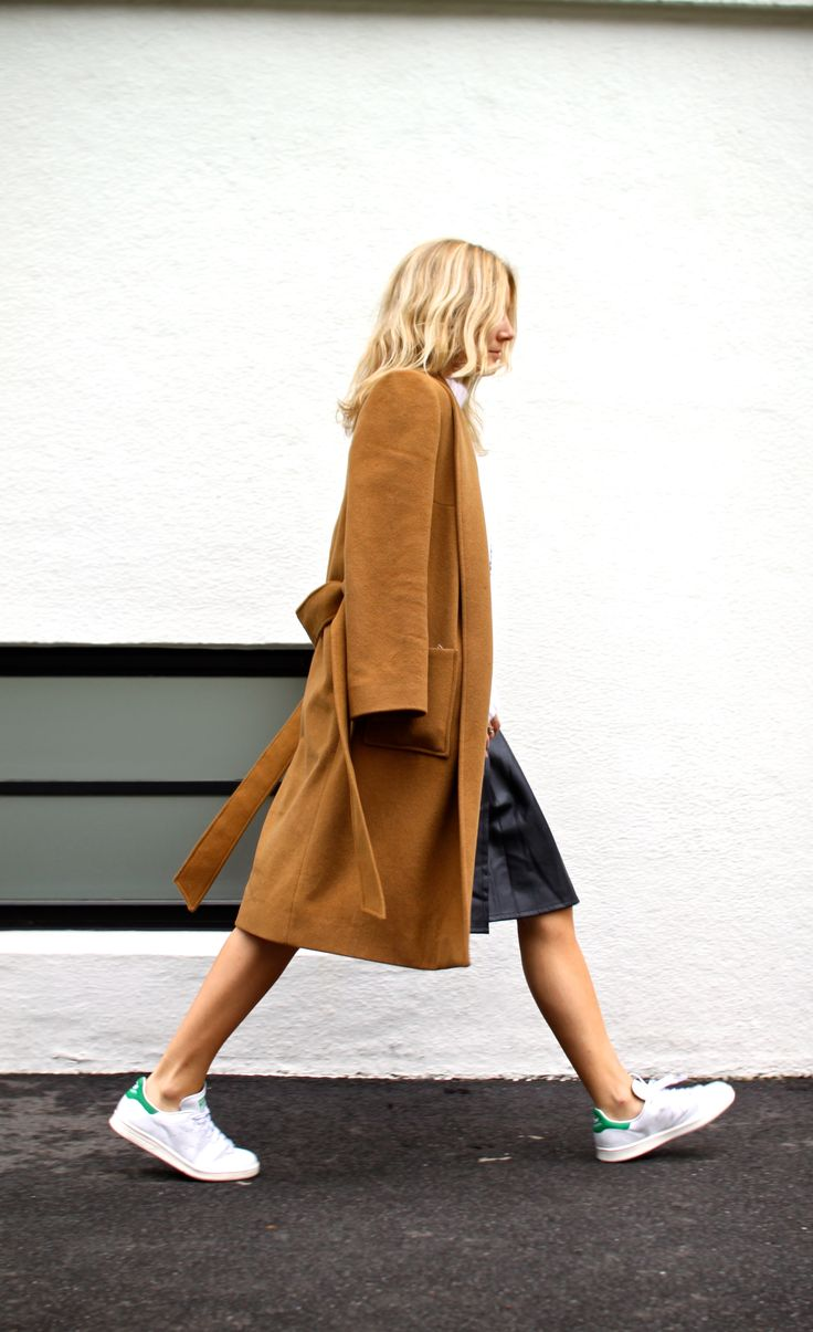 trainers, Adidas Stan Smith, leather skirt, jumper, camel coat