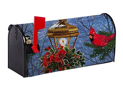 Evergreen Birds on Post Nylon Magnetic Mailbox Cover for Standard Sized Mailboxes  Create a classic look for your mailbox  Made of durable, 310 denier nylon fabric with 2 magnet strips  Generous latch and flag opening provided  Clings to your mailbox in a snap and fits all standard sized mailboxes  Measures approximately 18.5 x 0.02 x 20.5 inches