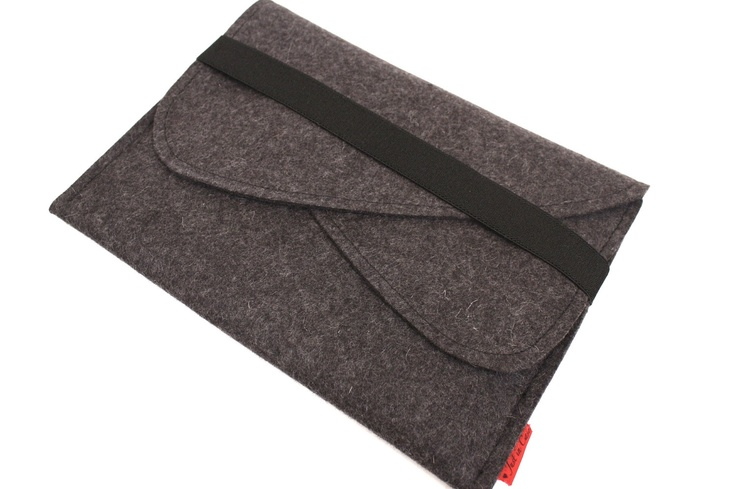 iPad Wool Felt Sleeve/Case with Double Pocket and Elastic Trim Side Load in Anthracite. $48.00, via Etsy.