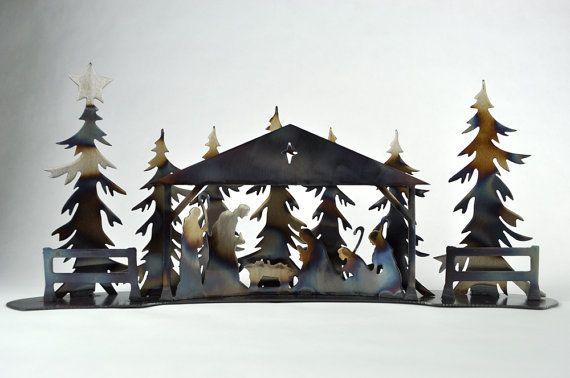 Natività, presepe moderno, minimalista centrotavola di Natale, decorazione del camino di Natale, decorazioni uniche di Natale, abeti di metallo